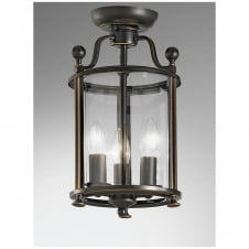 Pasillo Antique Bronze 3 Light Flush Lantern