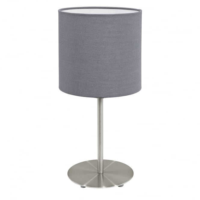 Eglo Pasteri Chrome Bedside Lamp Grey Shade