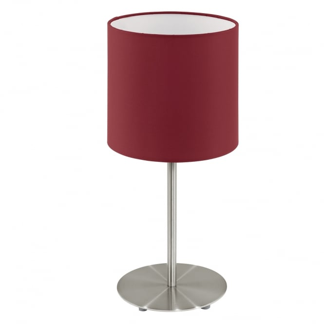 Eglo Pasteri Chrome Bedside Lamp Red Shade