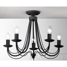 Philly Black 5 Light Ceiling Fitting