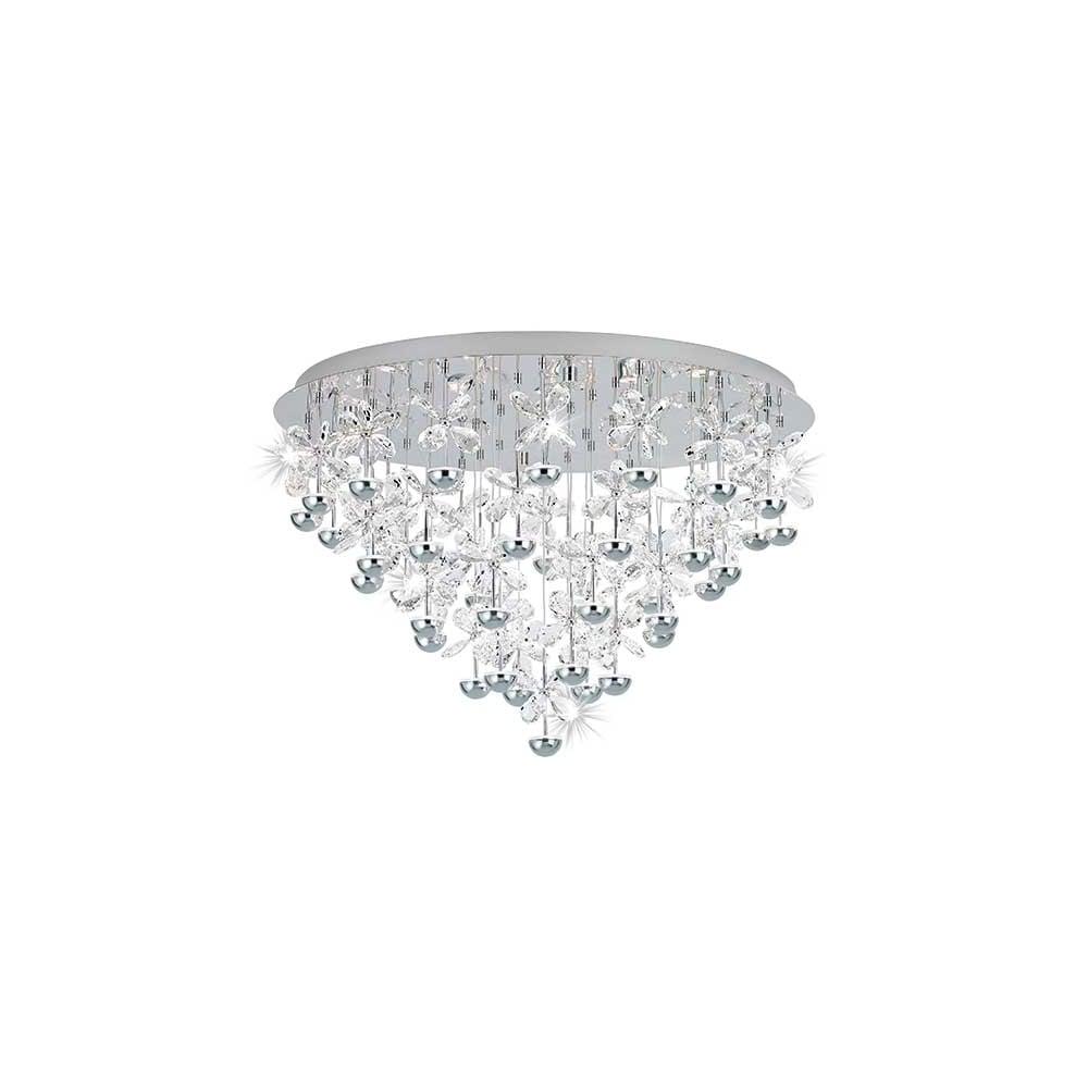 Eglo Sku25479 Pianopoli Crystal Flower Semi Flush Ceiling Light