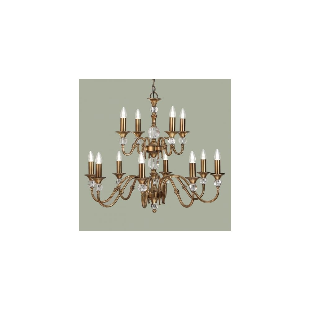 Interiors 1900 polina antique brass cut crystal chandelier 12 light