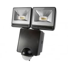 Powerful 2x8W LED Energy Saver PIR Floodlight, Black