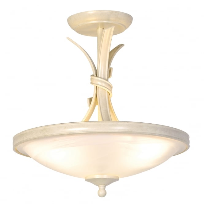 Elstead Ribbon Semi-Flush Ivory/Gold