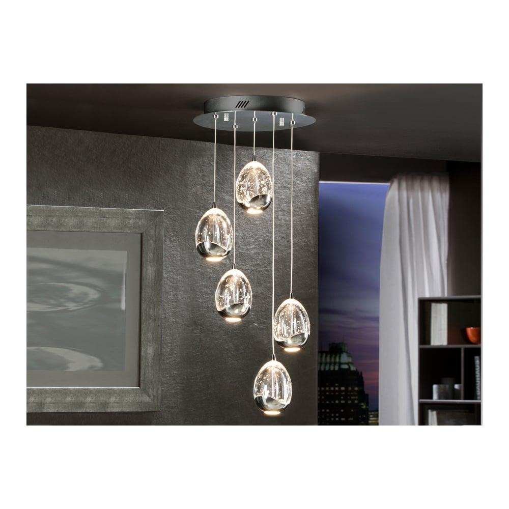 Schuller 783517 rocio chrome 5 led pendant lamp ideas4lighting rocio chrome 5 glass orb led pendant ceiling lamp aloadofball Images
