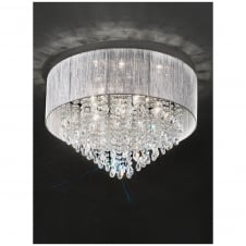 Royale Chrome and Crystal 7 Light Flushmount Ceiling Light