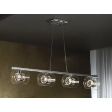 Flash 4 Light Cylinder Glass Pendant Bar