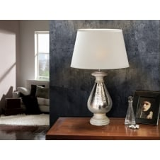 Ishara Moroccan Nickel Table Lamp and Shade