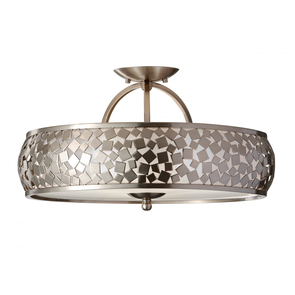 Feiss Semi Flush Brushed Steel Ceiling Light with Small Metal Pieces Design
