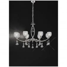 Sherrie Satin Nickel 8 Light Crystal Ceiling Fitting