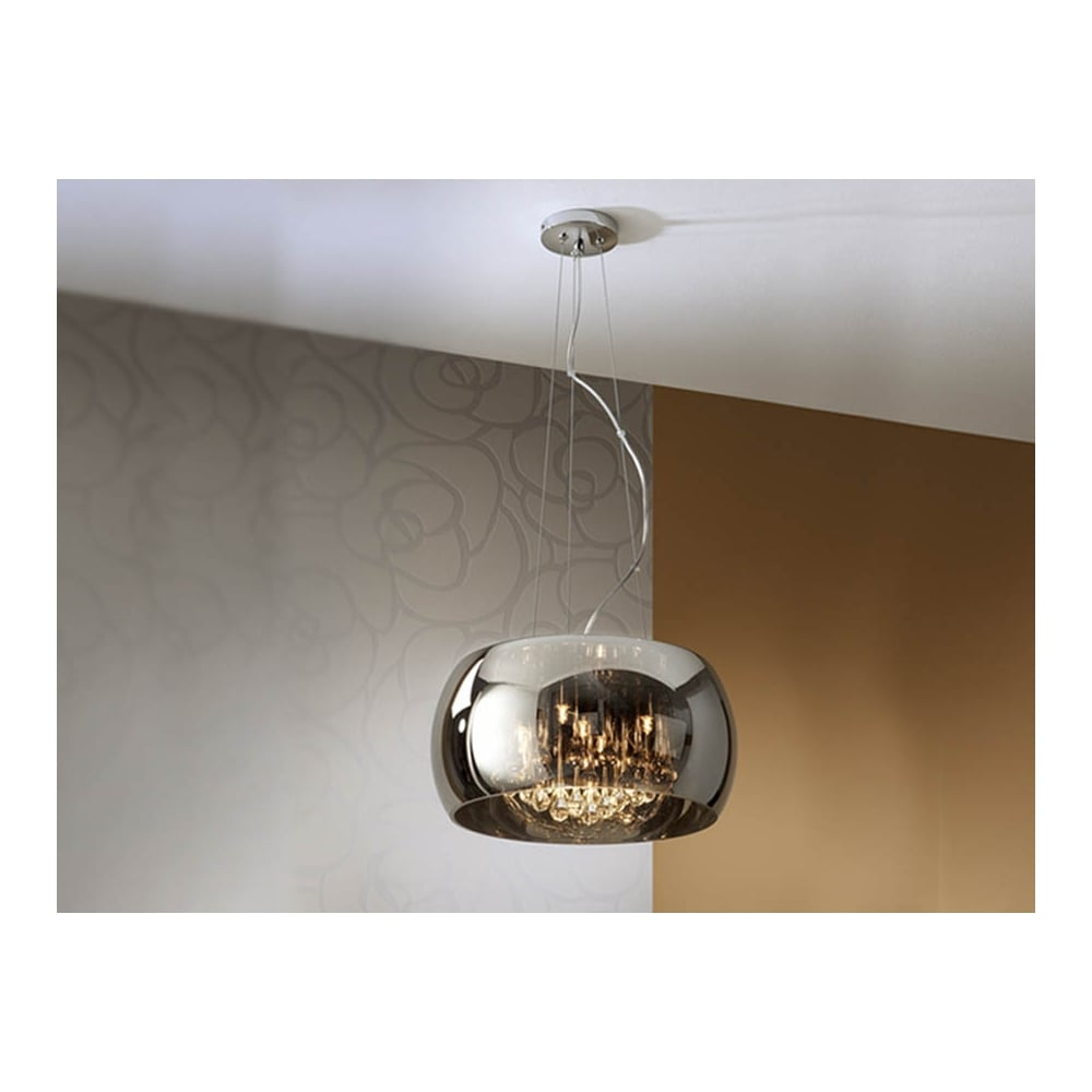 Smoked Dome Crystal Pendant Ceiling Light Schuller