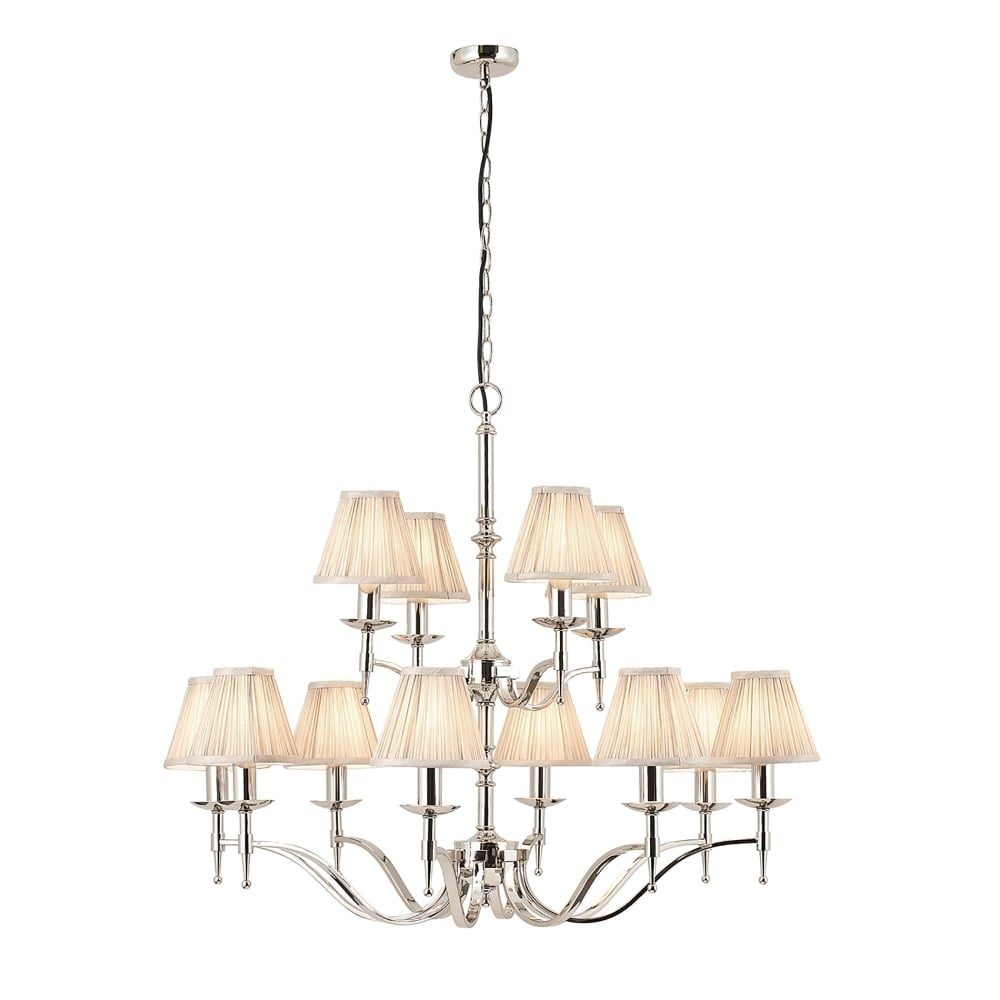 Interiors 1900 Stanford Polished Nickel Chandelier 12 Light