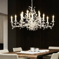 Contemporary ceiling light chandeliers uk ideas4lighting steel silver candlelight chandelier mozeypictures Images
