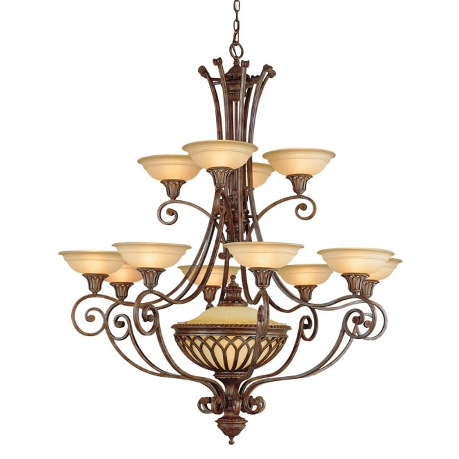 Feiss Oriental Rustic Red 13 Light Large Chandelier with Smooth Glass Shades
