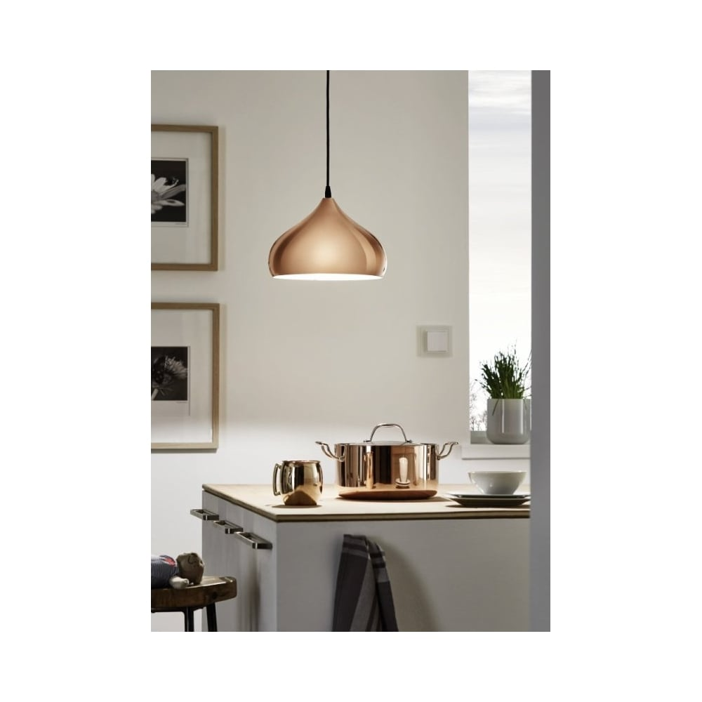 Eglo Hapton Copper Kitchen Ceiling Light Pendant | ideas4lighting ...