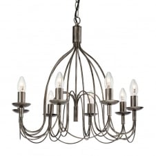 Regency Antiqued Silver Chandelier with 8 Lights