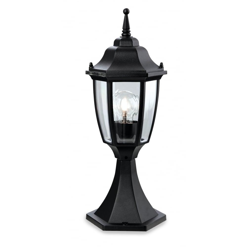 Cheltenham Cast Pedestal Lantern Light Black: Firstlight 8664BK Faro Lantern - Pillar
