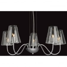 Jasmine Chrome and Glass 5 Light Ceiling Fitting