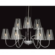 Jasmine Chrome and Glass 9 Light Ceiling Fitting