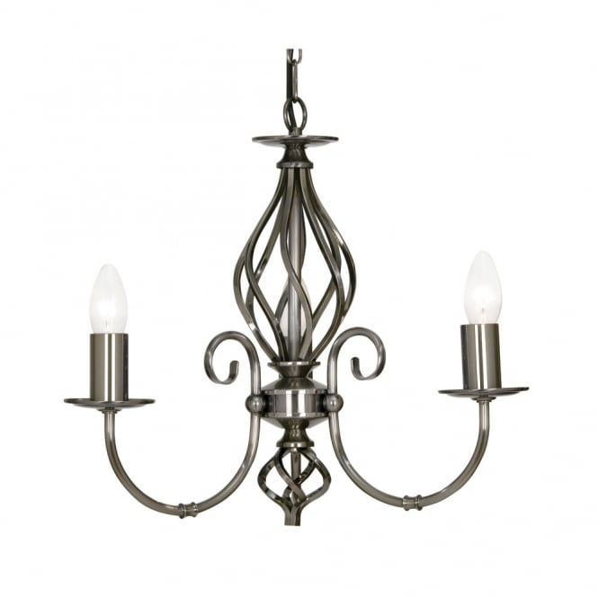Oaks Tuscany Antique Silver 3 Light Ceiling Pendant
