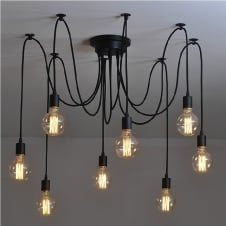 Vintage Retro Edison Light Bulb Pendant 6 Light