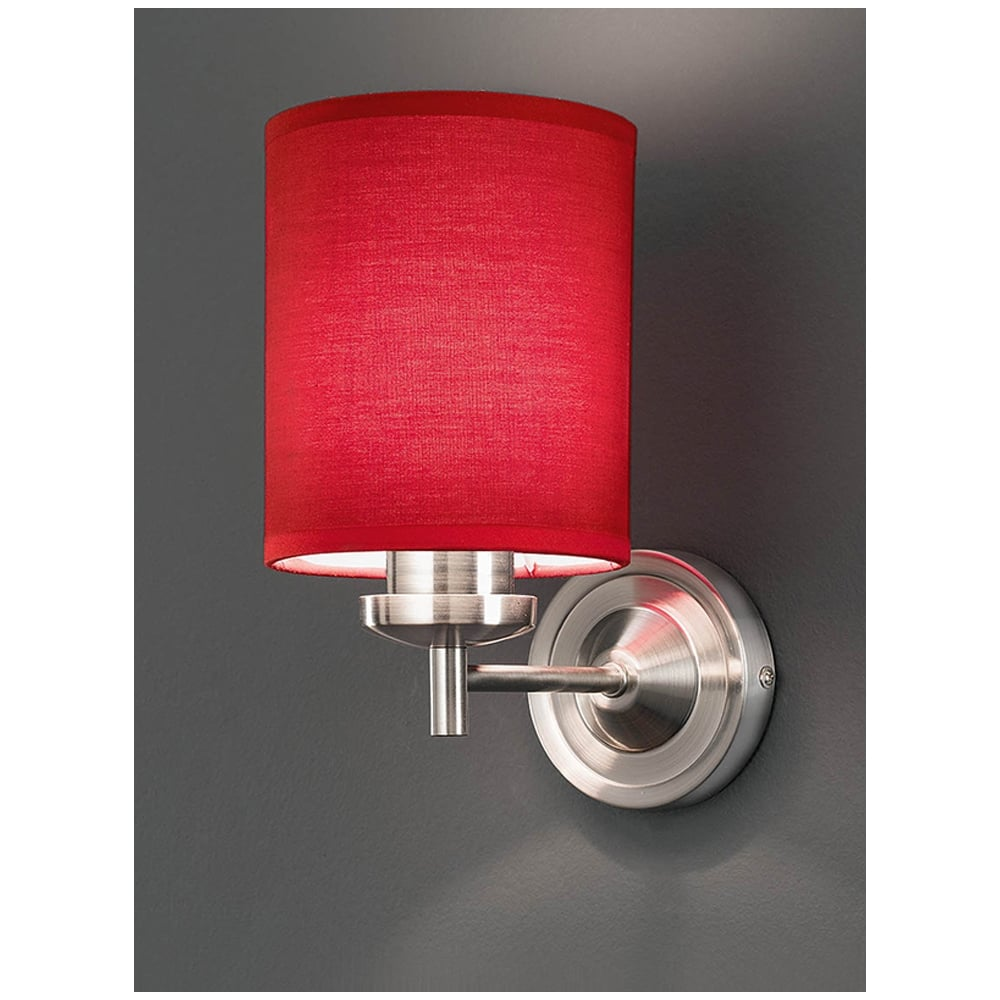 Franklite FL2315/1/1156 Vivace Single Light Wall Bracket with Red Fabric Shades ...