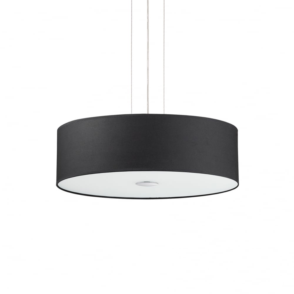 Ideal Lux Woody Ceiling Drum Shade Pendant Light Black Fabric