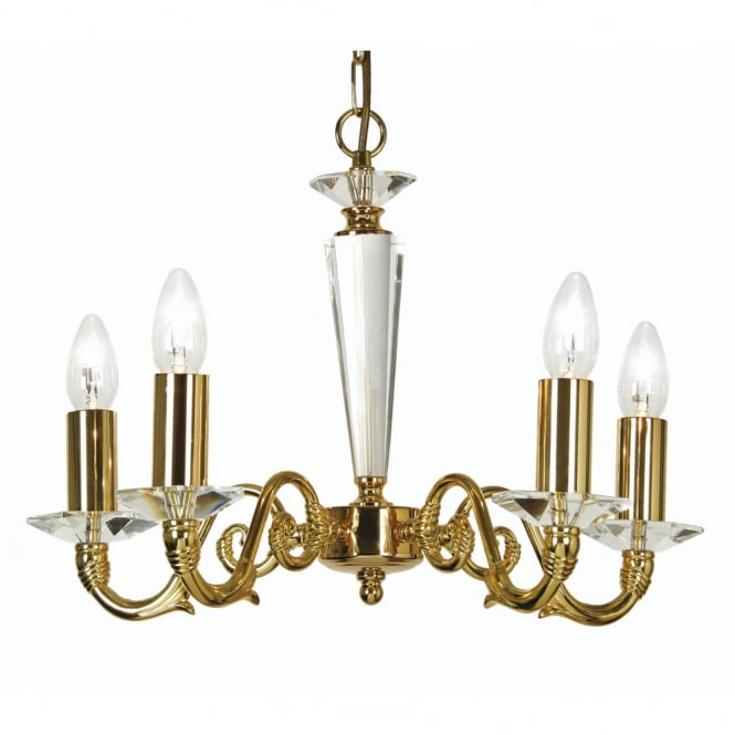 Oaks Wren Gold Plate 5 Light Ceiling Pendant